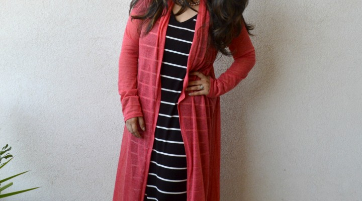 Layered Striped Maxi Dress