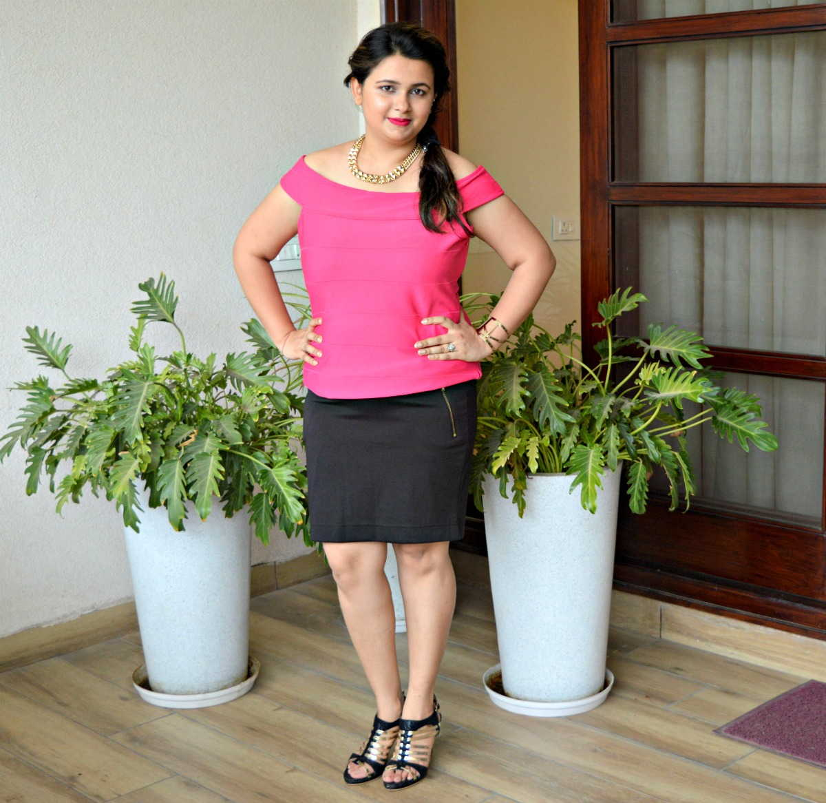 Pink Top and Black Pencil Skirt