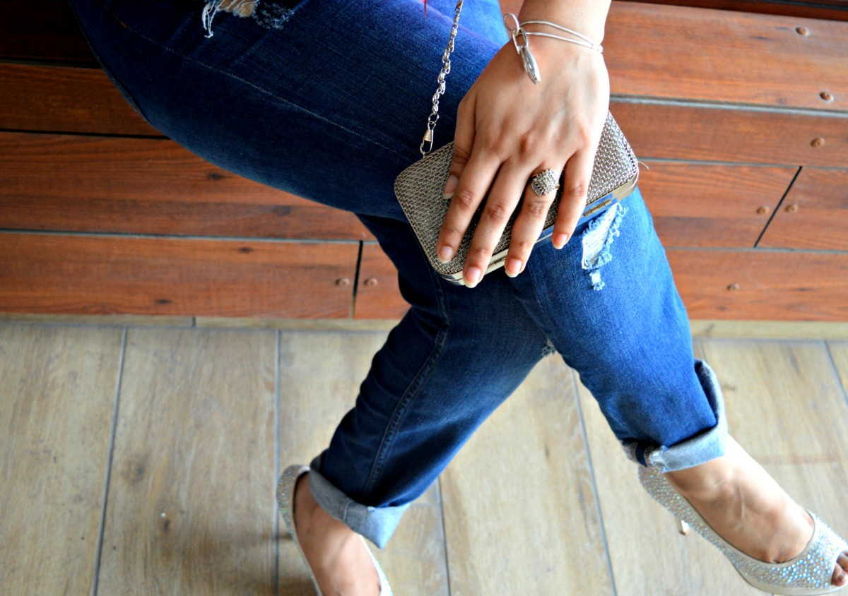 ripped jeans and accessories