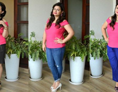 Pink Off Shoulder Top - 3 Ways to Style it