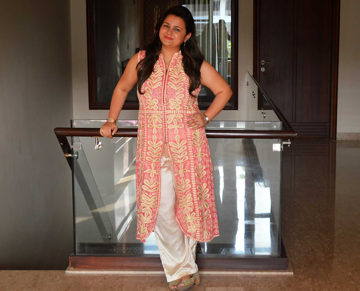 Pink tunic with beige palazzos