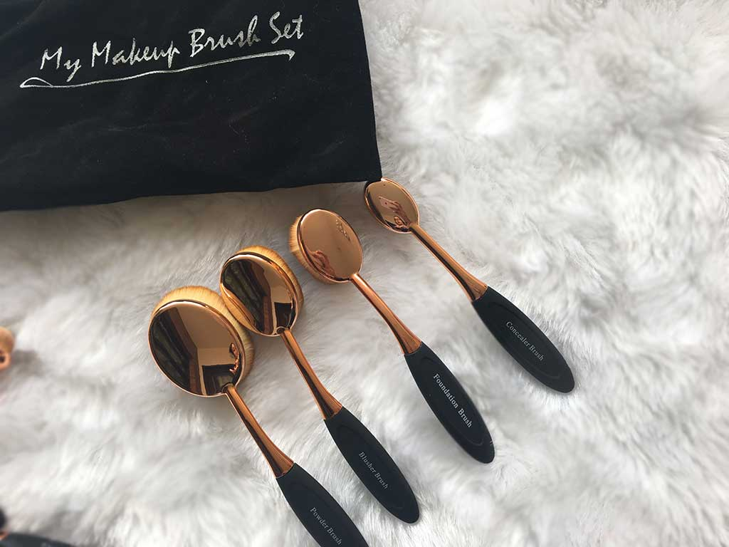 face makeup brushes rose gold